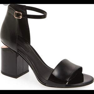 """Alexander Wang """"Abby"""" Patent and Rose Gold Sandals"""